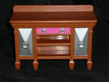 Fisher Price Loving Family Dollhouse Brown Dining Room Cabinet Hutch Table