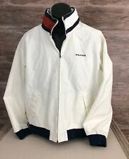 Tommy Hilfiger Men's Vtg. White Nylon Zip Jacket Blue Cuffs sz Large Flag Collar