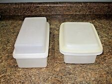 2 WHITE TUPPERWARE ~LOAF KEEPER #1508 ~FREEZE N SAVE ICE CREAM KEEPER #1254