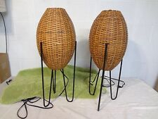 MID CENTURY TIKI BAR SIDE BEEHIVE TORCH LIGHT LAMP x 2  HAIRPIN LEGS WOW VINTAGE