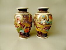 A Pair Of Oriental / Japanese Late Meiji Period Satsuma Vases