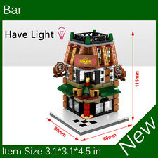 Mini Street View Building Block BAR Have Light Compatible City Toys SD6512