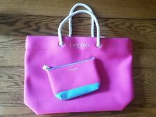 LANCOME Tote Beach Bag with Matching Cosmetics Case Pink Turquoise NEW