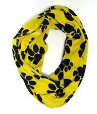 Puppy Paw Print Infinity Scarf Yellow & Black Multicolor Knit Scarf  # 327-5 New
