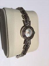 Vintage Avia Hallmarked Silver Ladies Marcasite Watch