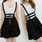New Women's Mini Skirt High Waisted Pleated Skater Flared Suspender Braces Dress