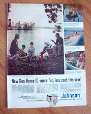 1958 Johnson Boat Motor Sea-Horse Ad Fishing Theme