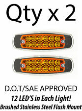 2 - Amber 12 LED Sealed Side Marker Clearance Light Fish Shape Truck Trailer 12V