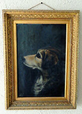 Antique 19th C. Oil Painting Art Portrait of Dog Signed 1880 Europe Period Frame