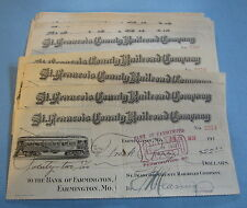 Lot of 25 Old 1900's St. Francois County RAILROAD BANK CHECKS Farmington MO.