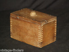 Old Vintage Primitive Square Dovetailed Wooden Butter Press Mold Kitchen Tool