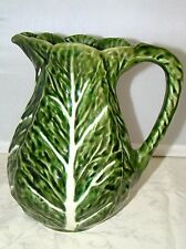 OLFAIRE Brand 6 Cup Serving Pitcher Portugal Majolica Pottery Green Cabbage