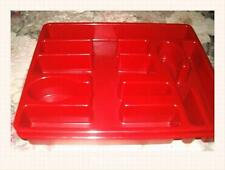 RED Cutlery Tray Kitchen Forks Spoons Knives Drawer Organizer Seven Compartments
