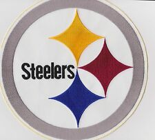 "Pittsburgh Steelers Logo Jacket Patch Large 9"" Round (iron or sew on)"