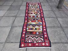 VECCHIO Kilim Corridore Tradizionale Persiano Fatto a Mano Orientale Kilim Lana Blu 305x85cm