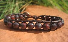 Great Gift Men's Tribal Surf Blood Stone Brown Leather Bracelet w/ Indian