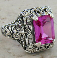 4 CT. PINK LAB SAPPHIRE ANTIQUE ART DECO .925 STERLING SILVER RING SIZE 6,  #355