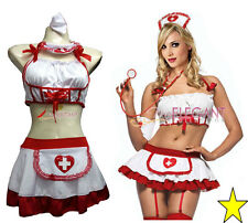 Lady Women Nurse Costume Halloween Fashion Outfit White Dress Lingerie Cosplay