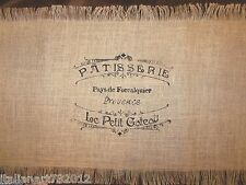 """French Country Bakery Scrip Burlaps Table Runner 20"""" x 72"""""""