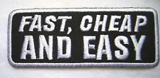 """FAST, CHEAP AND EASY NEW, 3-3/4"""" EMBROIDERED MOTORCYCLE PATCH SEWN/IRON ON"""