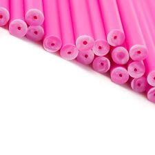 x50 114mm x 4mm Rose Coloré Plastique Sucette Gâteau Pop Bâtons Artisanats