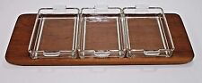 VTG Mid Century Modern Lunning Inc. Denmark Teak Serving Tray Danish Wood Glass