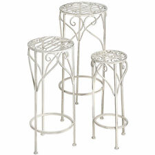 SET OF THREE ANTIQUE WHITE METAL PLANT STANDS - AN IDEAL STAND FOR FLOWERS