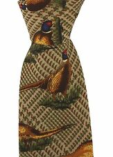 Soprano Brown Tweed Silk Tie with Standing Pheasants game day shooting shotgun