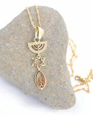 Necklace&pendant gold rhodium.Menorah / Star Of David / Fish. symbol Messianic