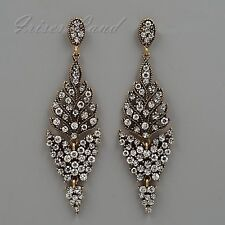 Antique Gold Plated Clear Crystal Rhinestone Wedding Drop Dangle Earrings 08279
