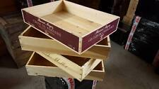 6 x LONG SIDED FLAT GENUINE FRENCH WOODEN WINE CRATE BOX TRAY STORAGE DRAWERS -.