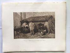 GRAVURE HELIOGRAVURE CHAUVET GEORGES PETIT 1904 DECAMPS ENFANTS NOURISSANT LAPIN