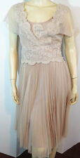 NWT Designer LES PETITES Sheer Mesh Lace Sand Brown 2Pc Dress w/Slip 36 2 $598