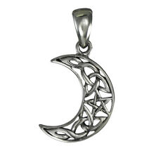 Sterling Silver Crescent Moon Pentacle Pendant - Goddess Wicca Pentagram Jewelry