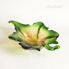 Vintage Mid Century 1960s Murano Green Yellow Pulled Glass Leaf Dish FREE UK P&P