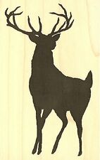 DEER BUCK SILHOUETTE Wood Mounted Rubber Stamp IMPRESSION OBSESSION D13476 NEW