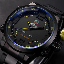 3D SHARK Mens LED Digital Sport Stainless Steel Date Day Quartz Army Wrist Watch
