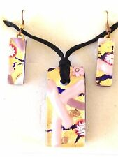 PINK GOLD AUTHENTIC VENETIAN MURANO GLASS NECKLACE EARRINGS JEWELRY SET XMG5