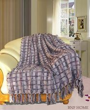 """BOON Multi Color Chenille Couch Throw Blanket Light Weight Warm Decor 50"""" x 60"""""""