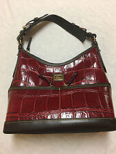 Dooney and Bourke Red leather alligator like design  purse hand bag D&B D and B