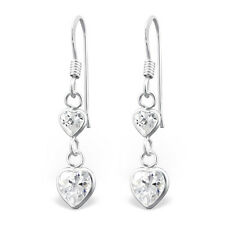 Quality 925 Sterling Silver Dangly Earrings-Clear CZ Double Heart Drop-7x15mm