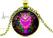 Vintage Owl Cabochon Glass Dome Tibetan bronze Glass Chain Pendant Necklace V157
