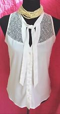 Bebe White Blouse Crochet Trim Ties Sz S Sleeveless Button Up Top Cut Out Back