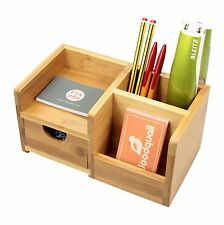 Bamboo Desk Tidy Organiser with Drawer, Pen Holder