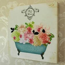 Vintage bath tub rose wall hanging canvas picture floral bathroom bedroom gift