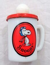 1969 Avon Liquid Soap Peanuts Snoopy Flying Ace Milk Glass Cup Mug w/ Cap Cover