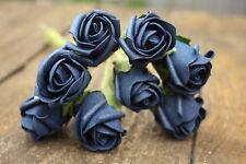 8 x DEEP NAVY BLUE LUXURY COLOURFAST FOAM ROSE BUDS 2.5cm WEDDING FLOWERS