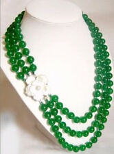 3 row nobler 8mm green jade necklace shell flower clasp