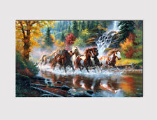 X LARGE CANVAS 18''x32'' WALL HERD OF WILD HORSES RIVER SPLASH PRINT PICTURE 217