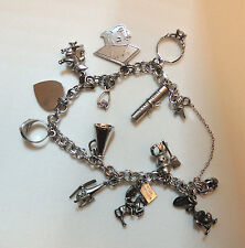 Beautiful 1960-70 Sterling Elco Charm Bracelet, 12 Large Charms, Disney 45 Grams